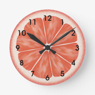 Pink Grapefruit Citrus Fruit Slice Round Clock
