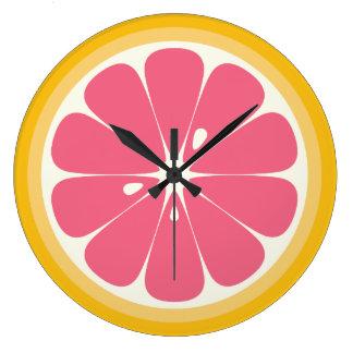 Pink Grapefruit Slice Large Clock