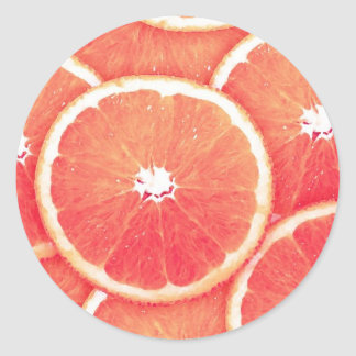 Pink grapefruit slices classic round sticker