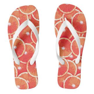 Pink grapefruit slices flip flops