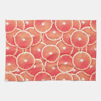 Pink grapefruit slices kitchen towels