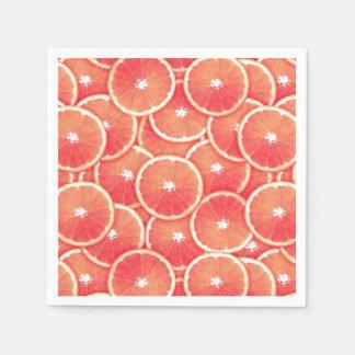 Pink grapefruit slices paper napkin