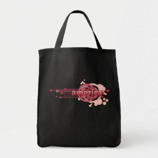 Pink Graphic Circle America Tote Bag