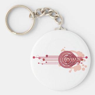 Pink Graphic Circle Iowa Keychain