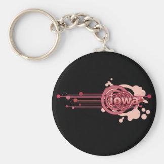 Pink Graphic Circle Iowa Keychain Dark