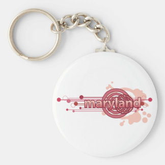 Pink Graphic Circle Maryland Keychain