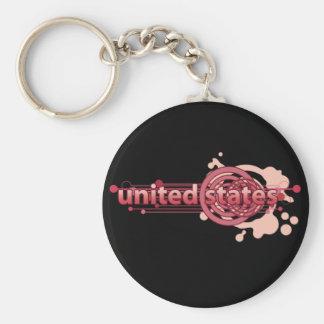 Pink Graphic Circle United States Keychain