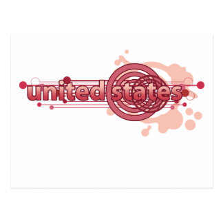 Pink Graphic Circle United States Post Cards
