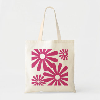 Pink Graphic Daisy Flower Canvas Bags