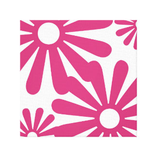 Pink Graphic Daisy Flower Gallery Wrap Canvas