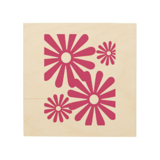 Pink Graphic Daisy Flower Wood Prints