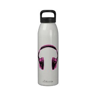 Pink Graphic Headphones Water Bottles