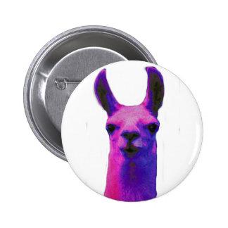 Pink Graphic Llama Pinback Button