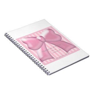 Pink Grass Ribbon & Stripe Notebook