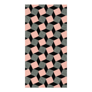 Pink Gray Abstract Geometric Ikat Square Pattern Photo Greeting Card