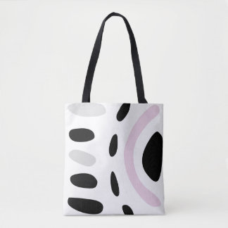 Pink, gray and black abstract design tote bag