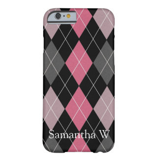 Pink, Gray and Black Argyle Patterned Design Barely There iPhone 6 Case