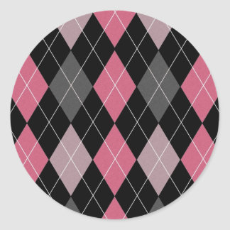 Pink, Gray and Black Argyle Patterned Design Sticker
