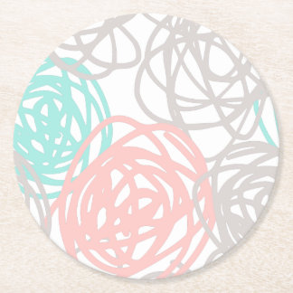 Pink Gray and Teal Doodle Pattern Round Paper Coaster