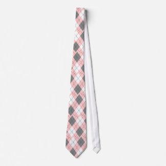 Pink, Gray And White Argyle Necktie