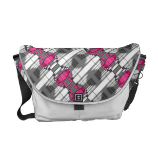 Pink Gray And White Geometrical Pattern Courier Bag