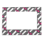 Pink Gray And White Geometrical Pattern Magnetic Photo Frame