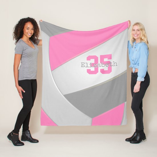 pink gray and white girls volleyball personalized fleece blanket