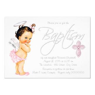 Pink Gray Angel Baby Girl Baptism Card