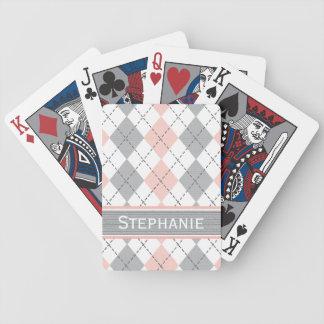 Pink Gray Argyle Bicycle® Playing Cards