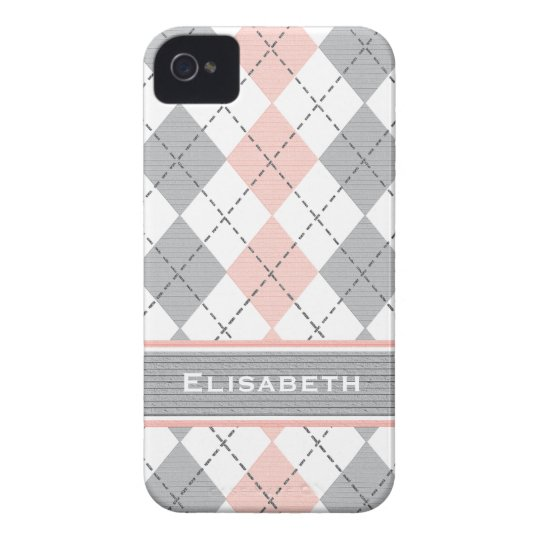 Pink Gray Argyle iPhone 4 Case-Mate Cover Preppy