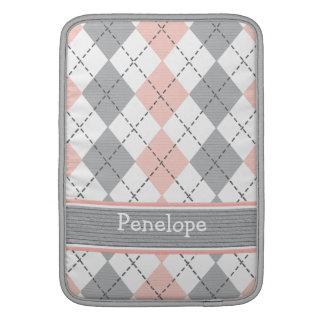 Pink Gray Argyle Macbook Air Sleeve 13 / 11 Inch