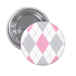 Pink Gray Argyle Pattern 1 Inch Round Button