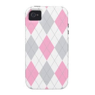 Pink Gray Argyle Pattern Vibe iPhone 4 Covers