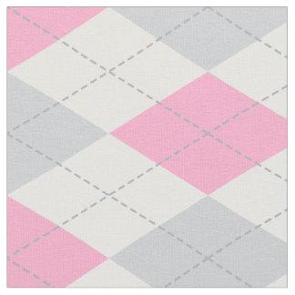 Pink Gray Argyle Pattern Fabric