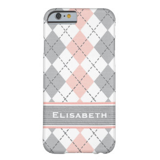 Pink Gray Argyle Preppy Barely There iPhone 6 Case