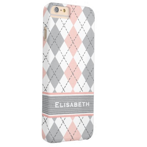 Pink Gray Argyle Preppy Barely There iPhone 6 Plus Case