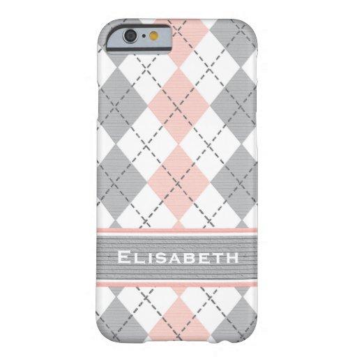 Pink Gray Argyle Preppy iPhone 6 Case
