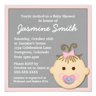 Pink gray baby girl face baby shower invitations