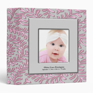 Pink Gray Baby Girl Photo 3 Ring Binder