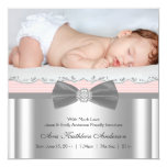 "Pink Gray Baby Girl Photo Birth Announcement 5.25"" Square Invitation Card"