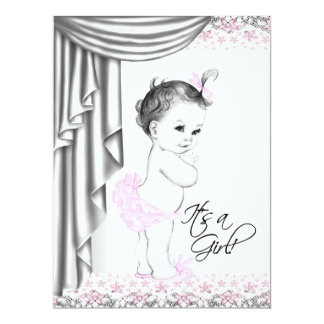 Pink Gray Baby Girl Shower Card