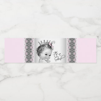 Pink Gray Baby Girl Water Bottle Labels