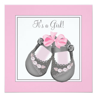 Pink Gray Baby Shoes Pink Gray Baby Girl Shower Card