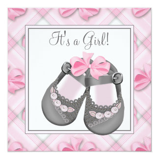 Pink Gray Baby Shoes Pink Gray Baby Girl Shower Invitation