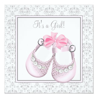Pink Gray Baby Shoes Pink Gray Baby Girl Shower Personalized Invitations