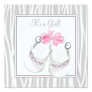 Pink Gray Baby Shoes Pink Gray Baby Girl Shower Custom Invite