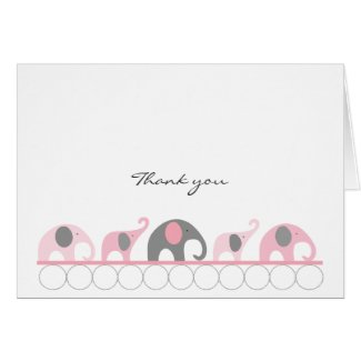 Pink & Gray Baby Shower Elephant Thank you notes