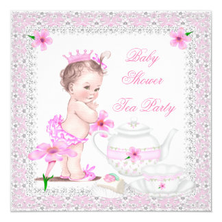 Pink Gray Baby Shower Girl Tea Party 5.25x5.25 Square Paper Invitation Card
