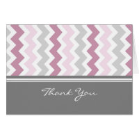 Pink Gray Baby Shower Hostess Thank You Greeting Card