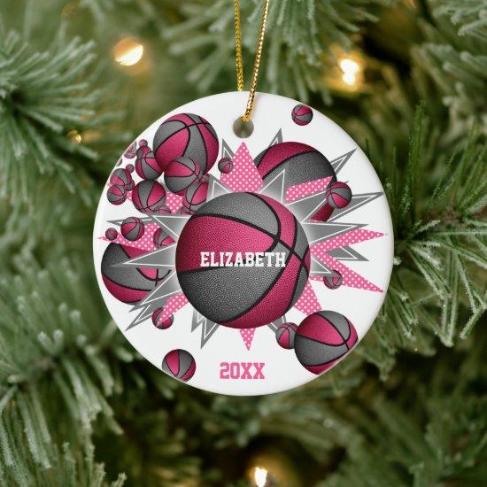 pink gray basketball blowout girls sports ceramic ornament